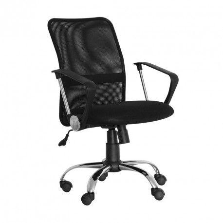 Silla de oficina KUSS, respaldo bajo en malla, brazos fijos, color negro