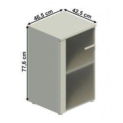 Armario de oficina estrecho con puerta de cristal mate SERIE COLOR