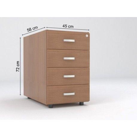 Cajonera oficina fija de madera de 4 cajones serie dado - Cajonera de oficina ...
