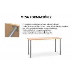 Mesa colectividades FORMACIÓN 2, patas individuales, fondo 80 cm