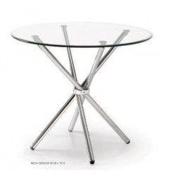 Mesa de cristal GOLUM, reuniones, redonda, patas entrelazadas, medida 90 cm
