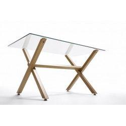 Mesa de cristal ROCIO, estructura en x de madera, medida 140x80 cm