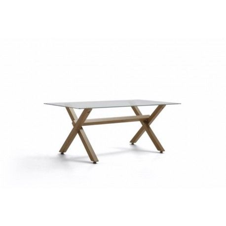 Mesa sala de espera de cristal BRUNO, patas de madera en x, medida 110x60 cm