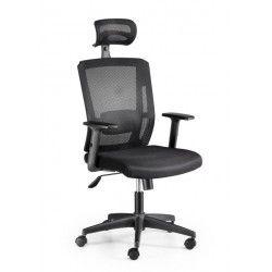 Silla de oficina ergonómica FIA, negro, reposacabezas regulable, brazos regulables
