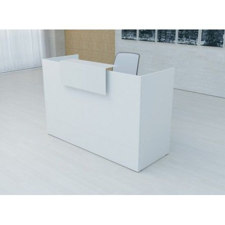 Mostrador recepción MOBI Blanco y detalles blancos, ancho 120 cm, sobremostrador metálico
