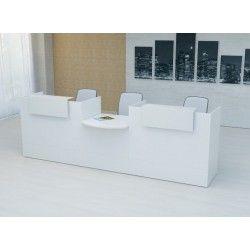 Mostrador recepción MOBI 320 cm, color blanco,  sobremostradores metálicos
