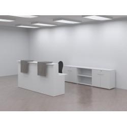 Mostrador Basic blanco 240 CM + 3 armarios bajos