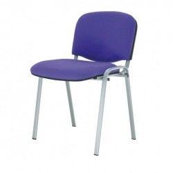 Silla confidente ISO, sin brazos, tapizado tela o polipiel, patas grises
