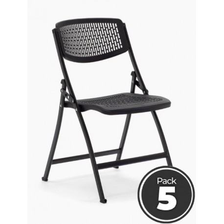 Lote 5 sillas plegables modelo SEUL de Euromof estructura de acero en color negra