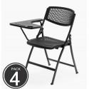 Lote 4 sillas plegables LUES, pala derecha, apilables, estructura de acero, color negro