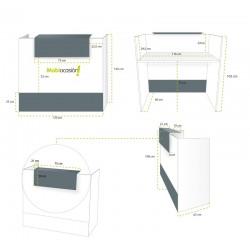 Mostrador de recepción MOBI blanco, medida 120x62x105 cm, sobremostrador y zócalo grafito