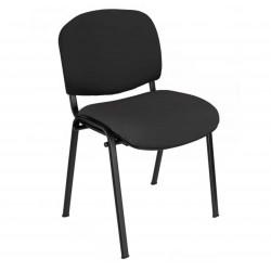 Silla confidente ISO, sin brazos, tapizado tela o polipiel, patas negras