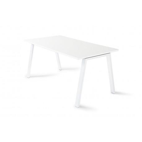 Mesa de oficina ATRIO, patas metálicas abiertas, tablero en blanco u olmo,  fondo 80 cm