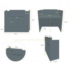 Mostrador recepción MOBI Grafito, ancho 120 cm, sobremostrador y zócalo grafito