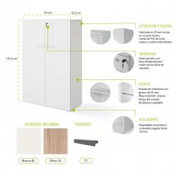 Armario Medio con puertas Serie Color blanco/olmo