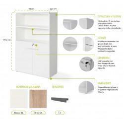 Armario medio con puertas bajas Serie Color Blanco/Olmo