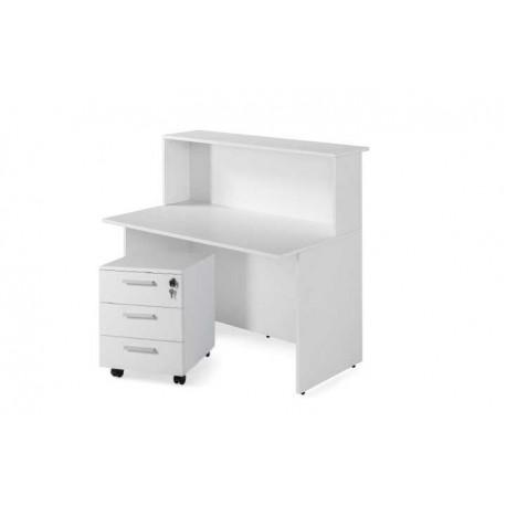 Mostrador recepción BASIC ancho 120 cm + cajonera 3 cajones, color blanco