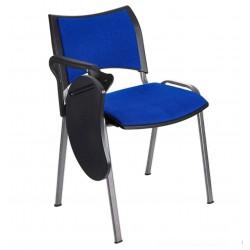Silla colectividad ISO Smart Tapizada con pala abatible, patas grises