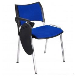 Silla colectividad ISO Smart Tapizada con pala abatible, patas cromadas