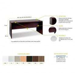 Mesa de oficina DUBLIN, recta de madera, medidas y colores a elegir