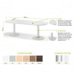 Mesa de reunión 8 personas modelo Zafiro forma ovalada y 2 pies metálicos