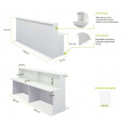 Mostrador de recepción recto BASIC, color blanco, ancho total 240 cm