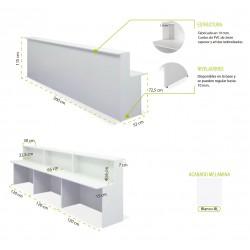 Mostrador de recepción BASIC 360 cm, color blanco
