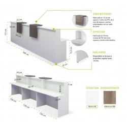 Mostrador de recepción BASIC, recto blanco con sobremostradores, ancho 360 cm