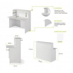 Mostrador recepción BASIC, medida 120 cm, con cajonera y armario bajo, color blanco