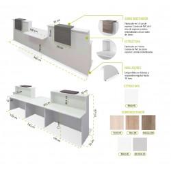 Mostrador recepción BASIC 340 cm blanco con sobremostrador color configurable