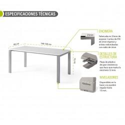Mesa de oficina PORTICO, fondo 80 cm, tablero blanco/olmo, estructura metálica