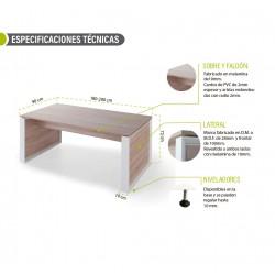 Mesa de despacho recta OMEGA color olmo y marco lateral DM blanco, 180-200 cm