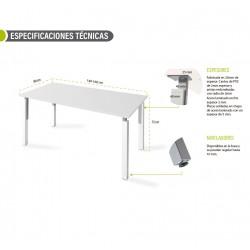 Mesa de oficina NEKO fondo 80 cm, 4 patas metálicas, color blanco u olmo