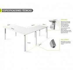 Mesa de oficina con ala NEKO 160 cm blanco/olmo