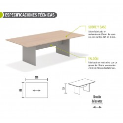 Mesa de reunión serie TINA medida 200 x 120 cm, forma rectangular