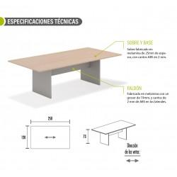 Mesa de reunión serie TINA medida 250 x 120 cm, forma rectangular