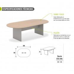 Mesa de reunión serie TINA medida 200 x 120 cm, forma ovalada