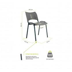Silla confidente de plástico ISO Smart, patas grises