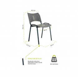 Silla confidente de plástico ISO Smart, patas cromadas