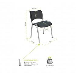 Silla confidente ISO Smart Tapizada, patas cromadas