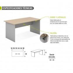 Mesa de oficina serie TONO T3, estructura y faldón en plata, varias medidas disponibles