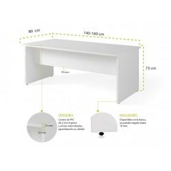 Mesa de oficina Serie COLOR Olmo de 140-160 CM
