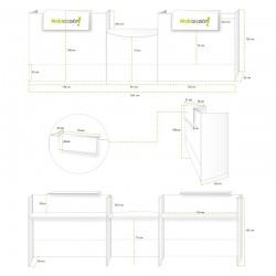 Mostrador recepción MOBI 320 cm, blanco, sobremostradores y zócalo grafito