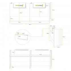Mostrador recepción MOBI blanco, ancho 240 cm, sobremostrador y zócalo grafito