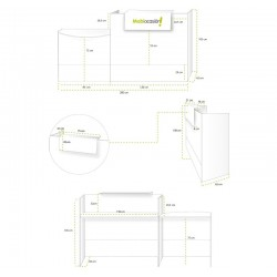 Mostrador recepción MOBI 200 cm, blanco, sobremostrador y zócalo blanco