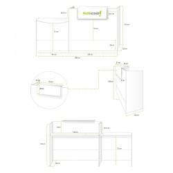 Mostrador recepción MOBI 200 cm, blanco, sobremostrador y zócalo grafito