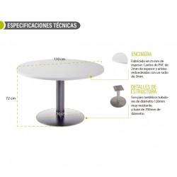 Mesa de reunión redonda CARVING tapa en blanco, pie metálico en aluminio