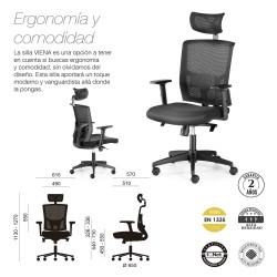 Silla de oficina VIENA, grueso asiento, mecanismo syncro, brazos regulables 1D