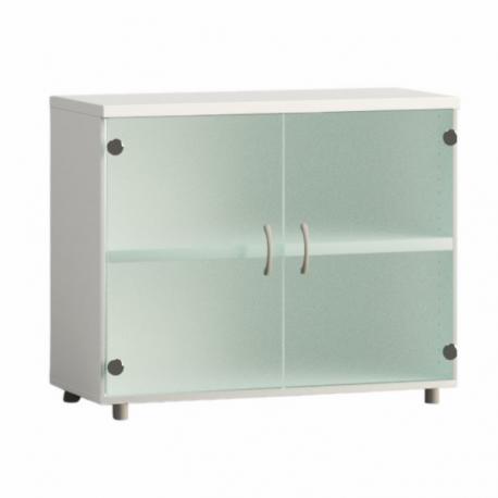 Armario de oficina bajo serie MOB, con puertas de cristal