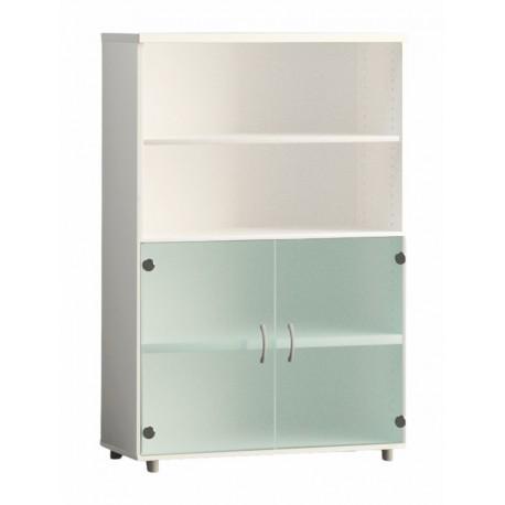 Armario de oficina medio serie MOB, con puertas bajas de cristal